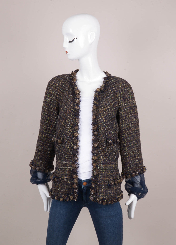 Navy and Brown Iridescent Tweed Bauble Embellished Mesh Sleeve Jacket