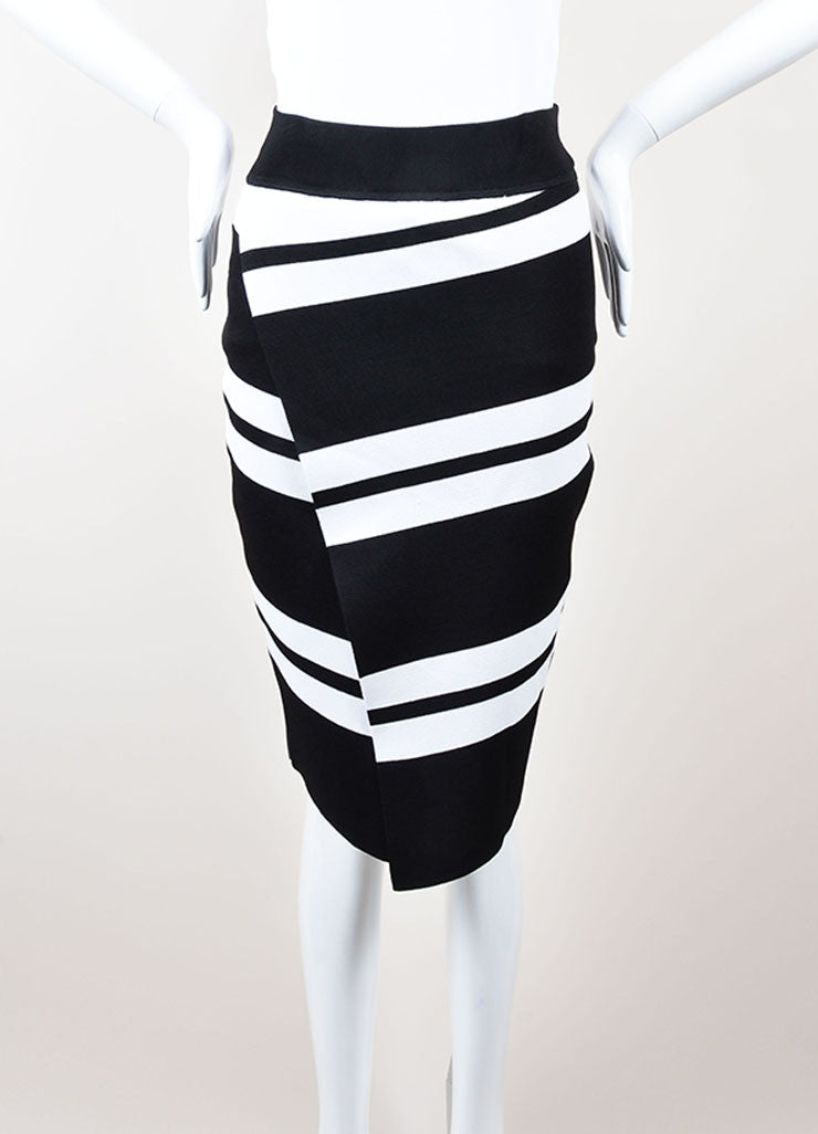 ALC Black and White Stretch Knit Striped Skirt Frontview