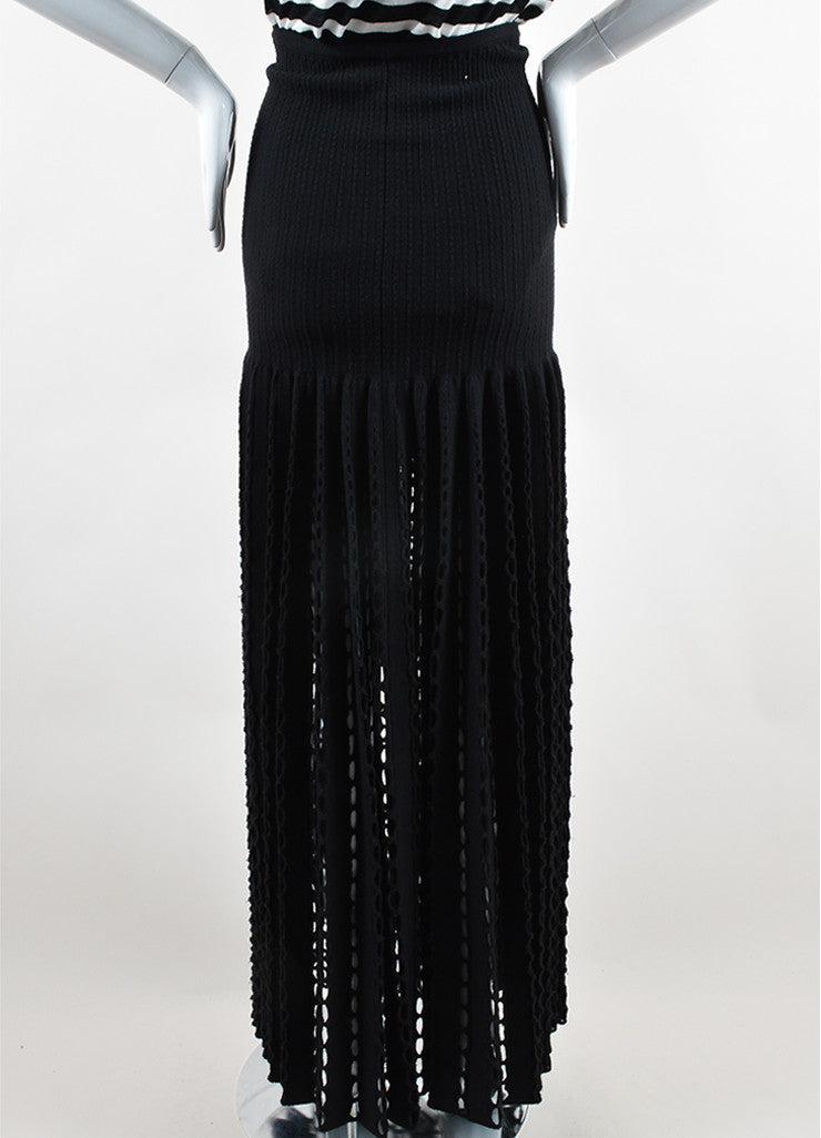 Alaia Black Wool Blend Knit Oversized Eyelet Maxi Skirt Backview