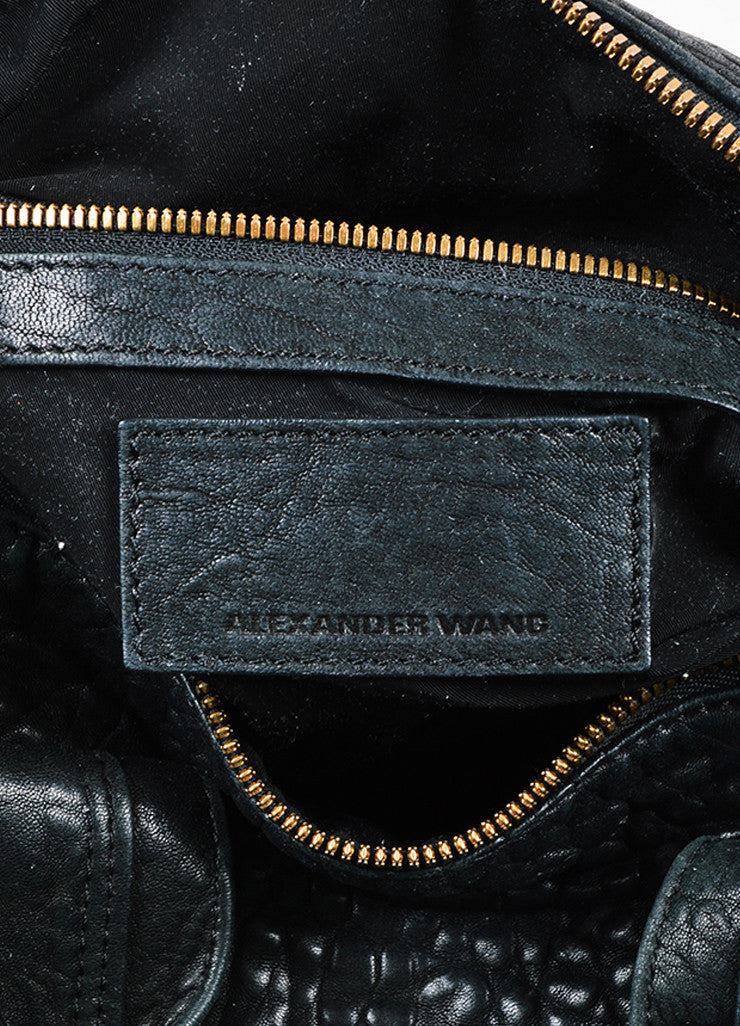 "Alexander Wang Black Pebbled Leather ""Rocco"" Duffel Bag Brand"