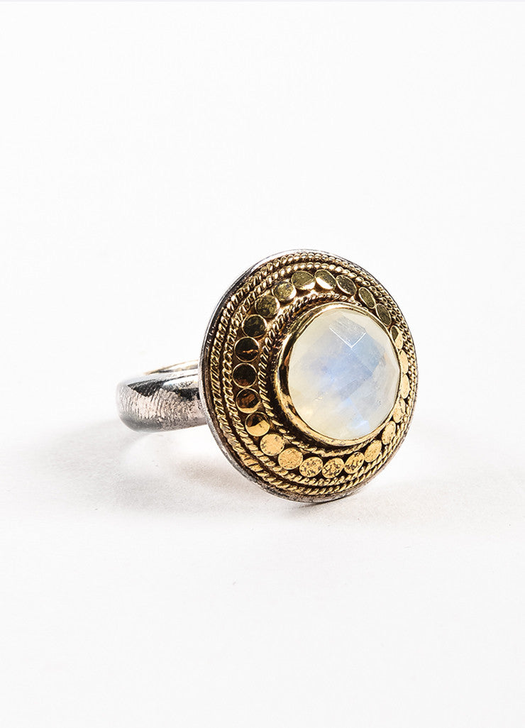 "Anna Beck Sterling Silver 18K Gold Plated Rainbow Moonstone ""Gili"" Ring Sideview"