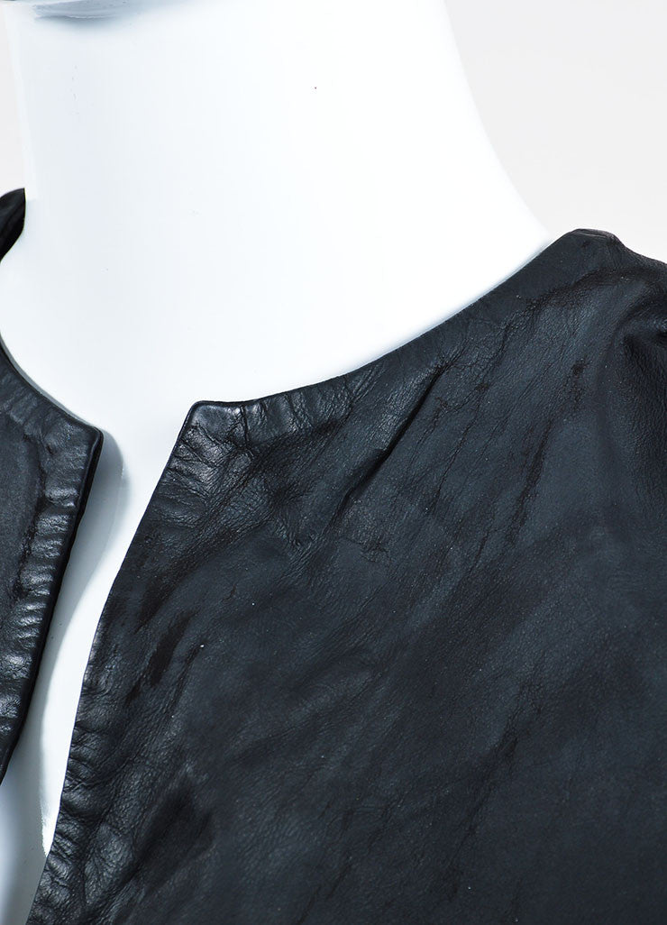 Black Balenciaga Leather and Suede Short Sleeve V-Neck Dress Detail