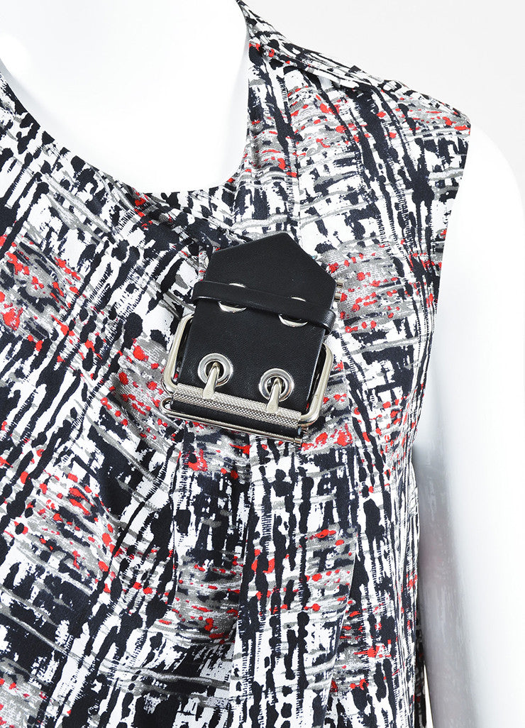Black and Red Balenciaga Silk Splatter Print Buckle Detail Drape Top Detail