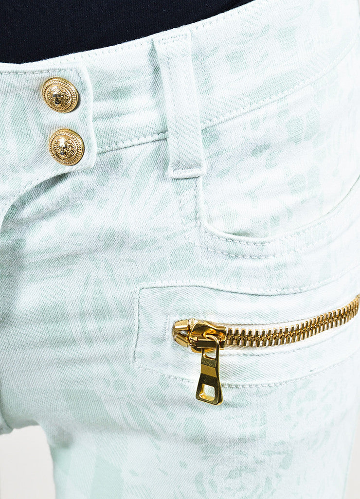 Balmain Mint Green, White, and Gold Toned Zipper Printed Skinny Jeans Detail