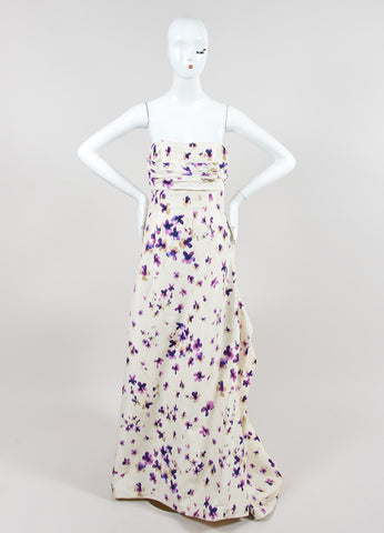 Cream and Purple Carolina Herrera Silk Floral Ruched Draped Strapless Gown Frontview