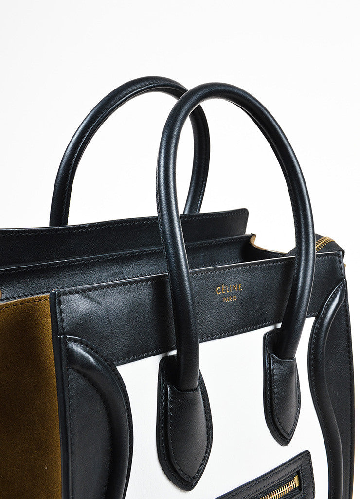 "Celine Brown, Black, and White Calfskin Leather ""Micro Luggage"" Tote Detail 2"