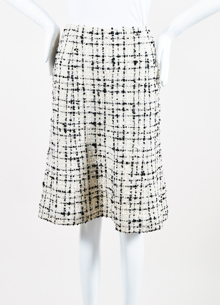 Cream and Black Chanel Wool Blend Tweed Sequin A-Line Skirt Frontview