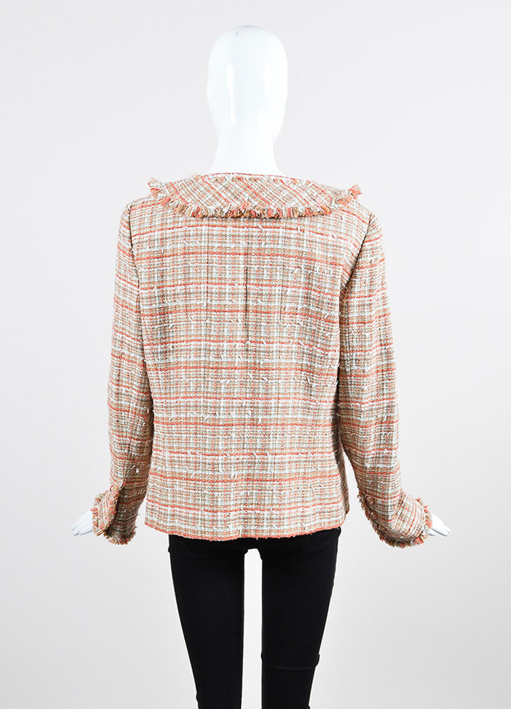 Coral and White Chanel Tweed Knit Fringe Button Blazer Jacket Backview