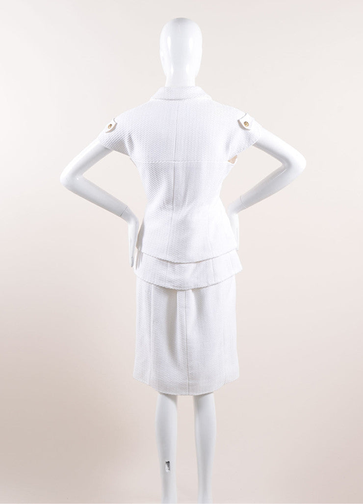 "Chanel White Knit Gold Toned ""CC"" Button Short Sleeve Pencil Skirt Suit Backview"