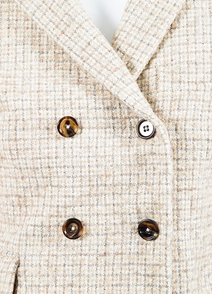 Chloe Beige and Grey Wool Tweed Plaid Double Breasted Pea Coat Detail