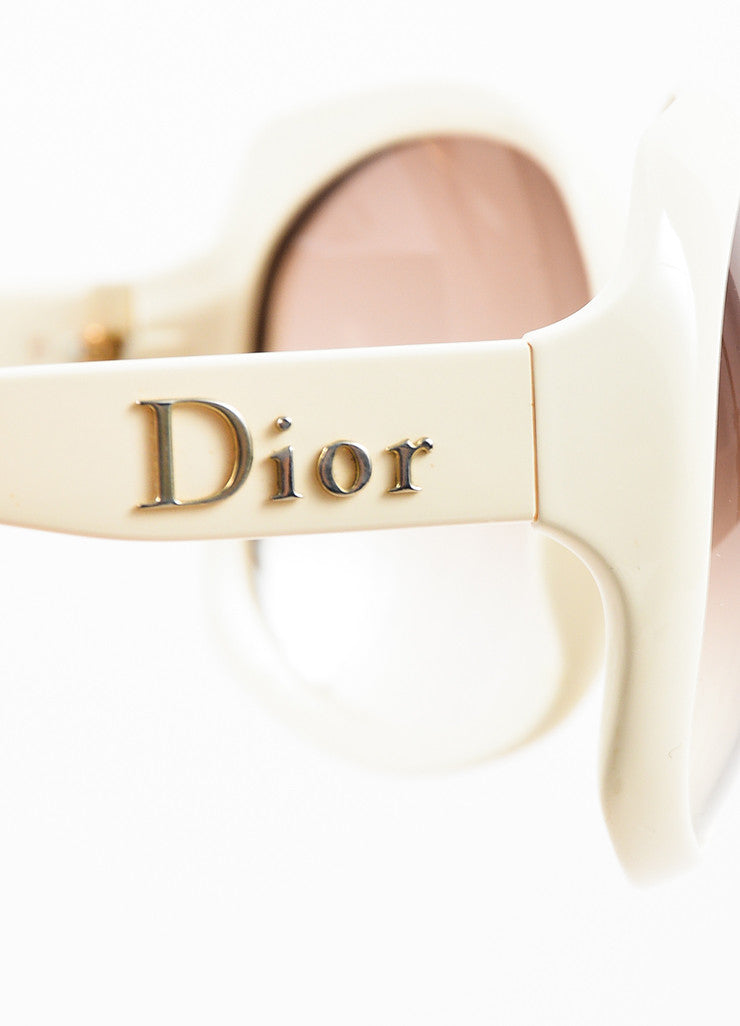 "Christian Dior Cream and Grey Gradient Lens Oversize Oval ""Dior Glossy 1"" Sunglasses Detail"