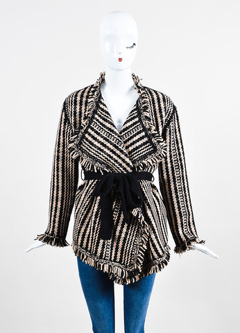 Black and Beige Christian Dior Knit Fringe Tie Cardigan Sweater Front