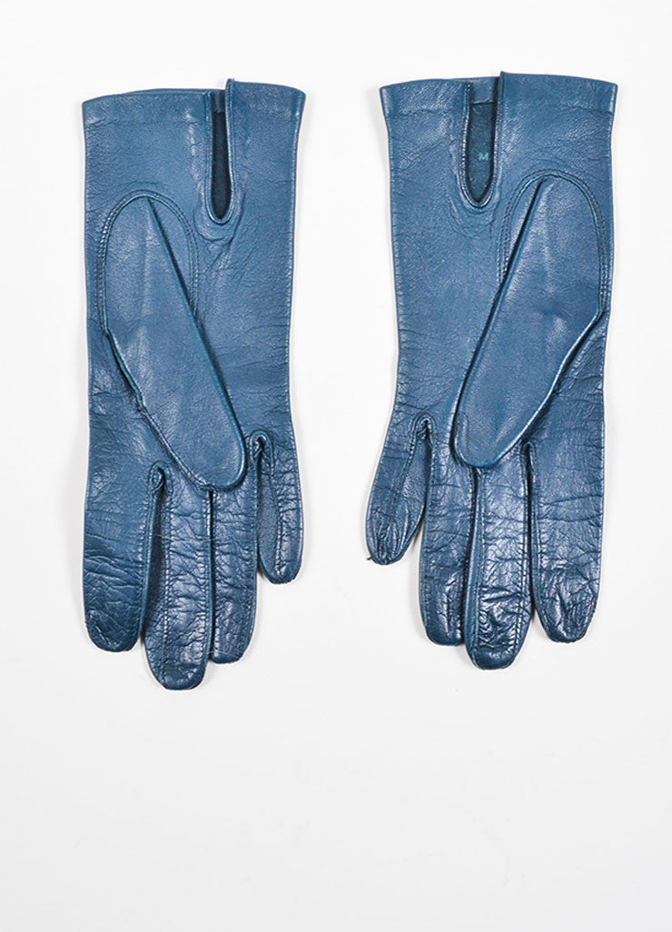Navy Leather Christian Dior Gloves Frontview