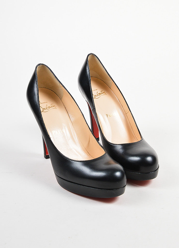 Black Christian Louboutin Leather Round Toe Platform Pumps Frontview