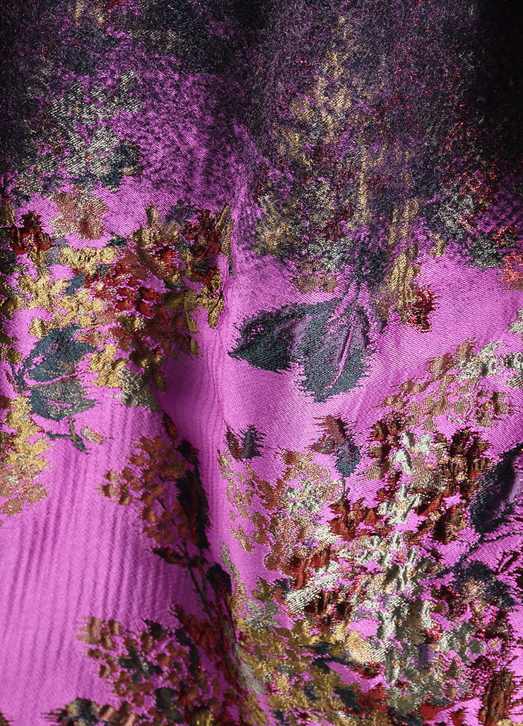 Black, Pink, and Red Erdem Wool Brocade Ombre Floral Maxi Coat Detail