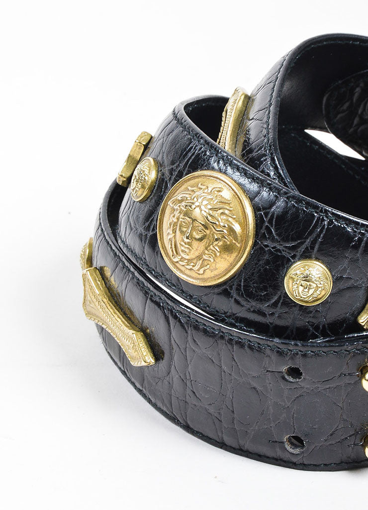Black Gianni Versace Embossed Gold Toned Large Medallion Buckle Belt Detail 2