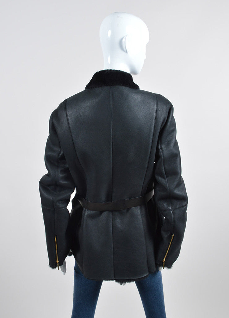 Black Gucci Leather Shearling Lined Belted Coat Backview