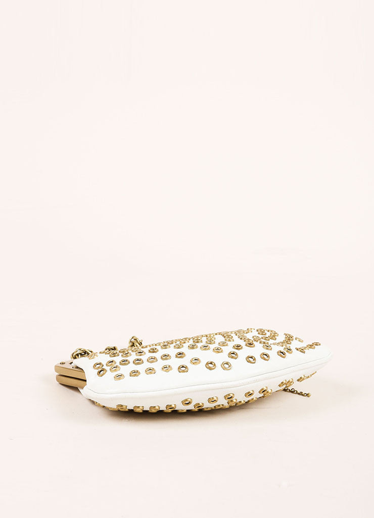 Gucci Cream and Gold Toned Hardware Embellished Wristlet Bottom View