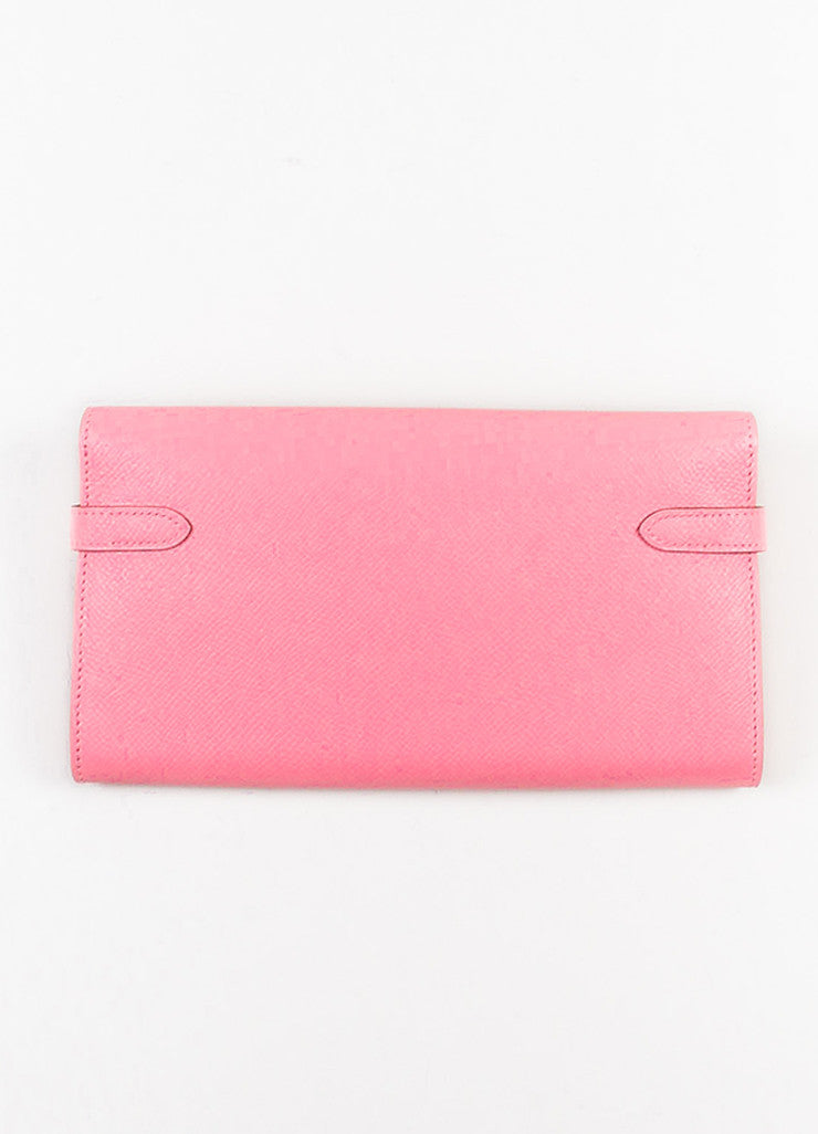 "Hermes Rose Confetti Pink Epsom Leather ""Kelly"" Long Money Holder Wallet Backview"