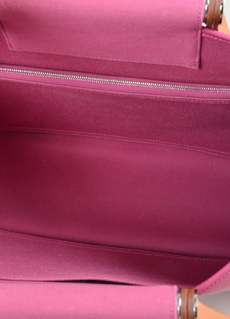 "Pink Canvas Hermes ""Cabas Elan"" Tote Bag Interior"