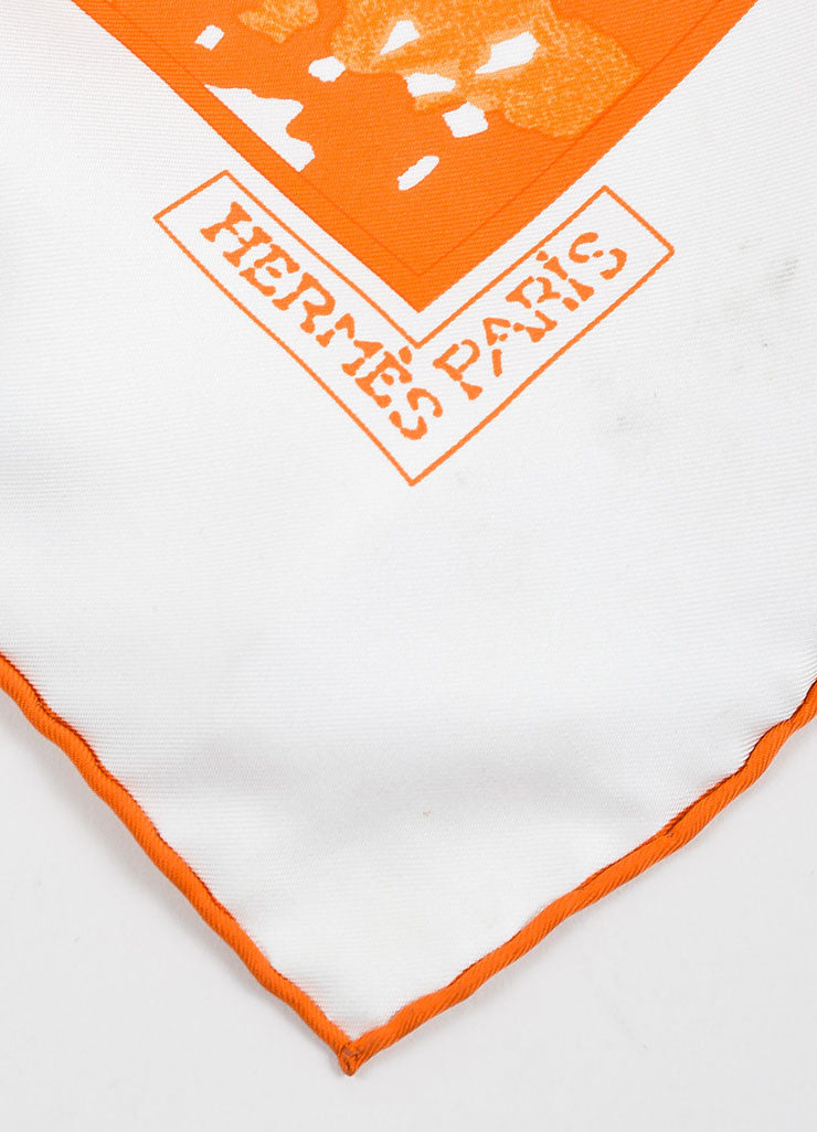 "White, Orange, and Tan Hermes Silk Three Leaves ""Trois Feuilles"" 90cm Square Scarf Brand 2"