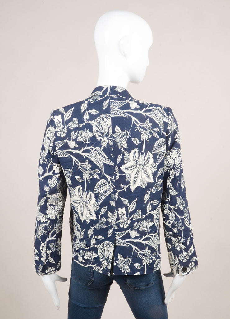 Isabel Marant Navy and Cream Linen Blend Floral Long Sleeve Blazer Jacket Backview