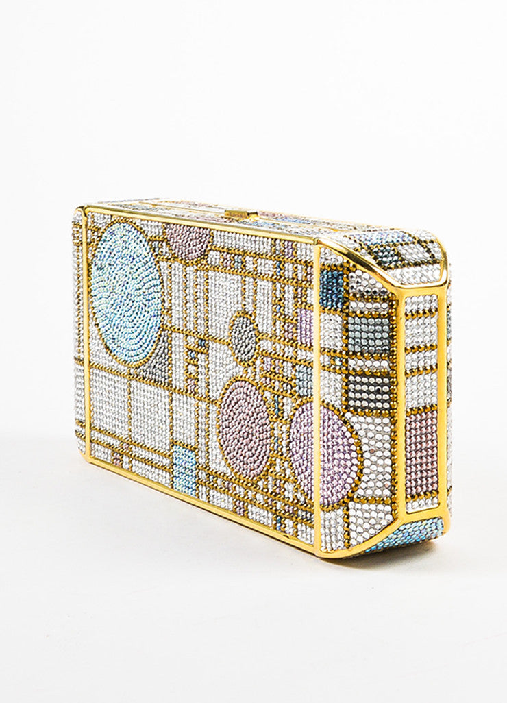Judith Leiber Pink and Gold Toned Swarovski Crystal Geometric Patterned Minaudiere Sideview