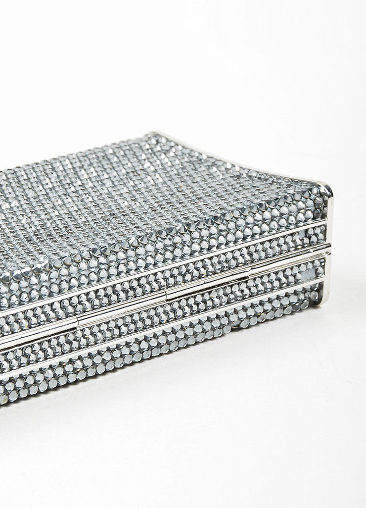 Silver Toned Judith Leiber Rhinestone Covered Rectangular Convertible Clutch Bag Bottom View