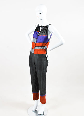 LemLem Grey, Purple, and Orange Cotton Striped Sleeveless Jumpsuit Sideview
