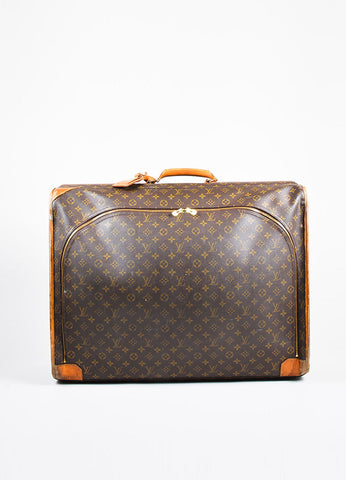 "Louis Vuitton Brown Coated Canvas Leather Monogram ""Pullman"" Travel Suitcase Bag Frontview"