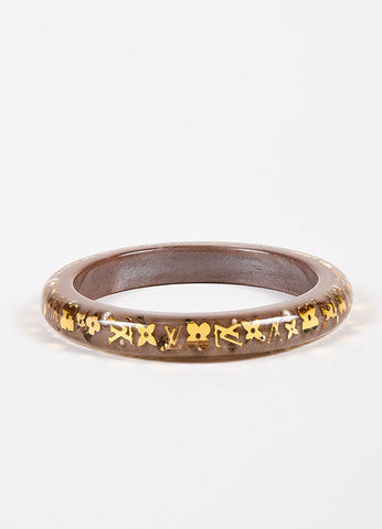 "Louis Vuitton Brown and Gold Toned Resin ""Inclusion TPM"" Monogram Bangle Bracelet Frontview"