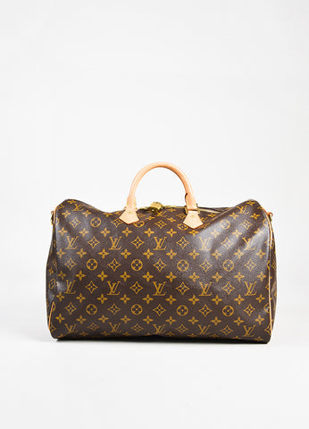 "Louis Vuitton Brown Monogram Coated Canvas ""Speedy Bandouliere 40"" Bag front"