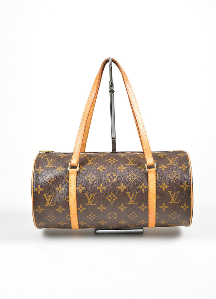 "Brown and Tan Louis Vuitton Coated Canvas and Leather Monogram ""Papillon 30"" Barrel Bag Frontview"