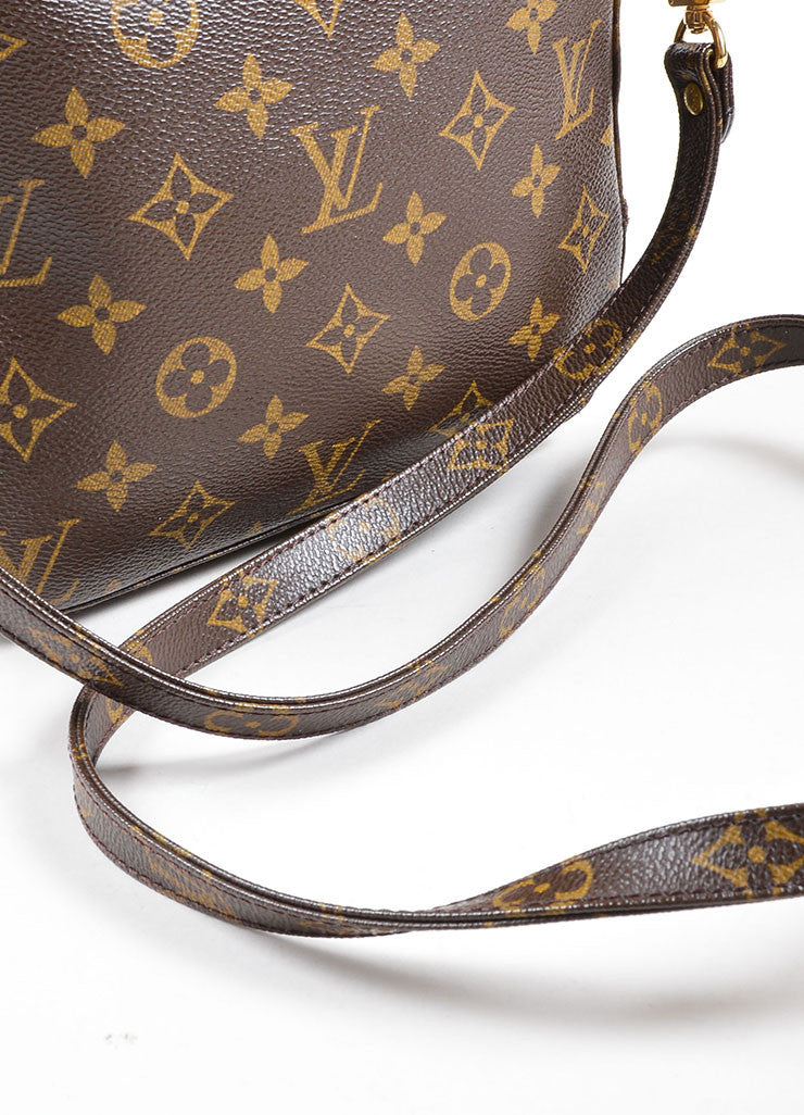 Louis Vuitton Brown Coated Canvas and Leather Trim Satchel Bag Detail 2