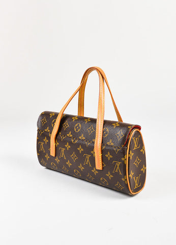 "Louis Vuitton Brown and Tan Coated Canvas and Leather Trim ""Sonatine"" Flap Bag Sideview"