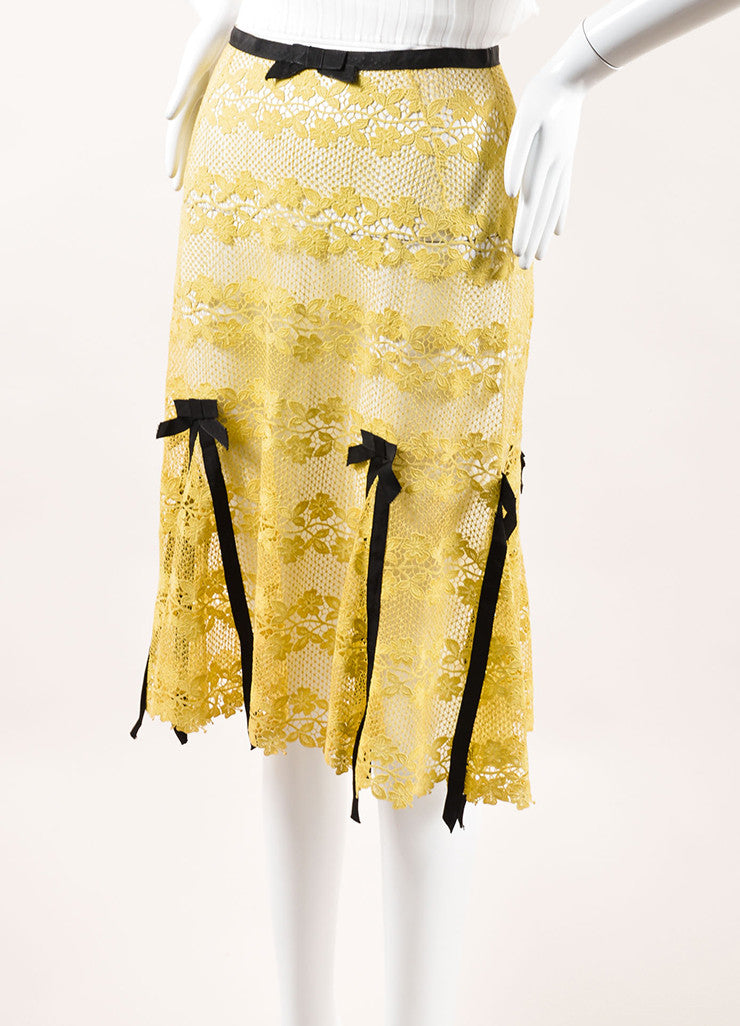 Louis Vuitton Yellow and Brown Cotton Lace Bow Ribbon Trim Skirt Sideview