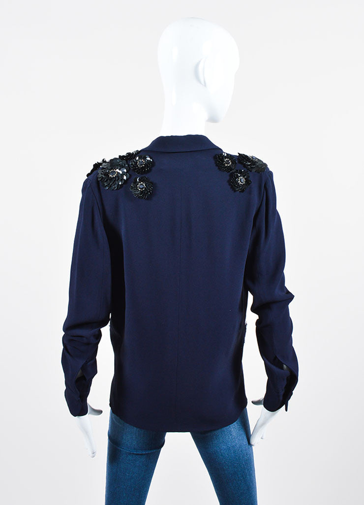 Navy Blue Marni Crepe Sequin Flower Embellished Blazer Back