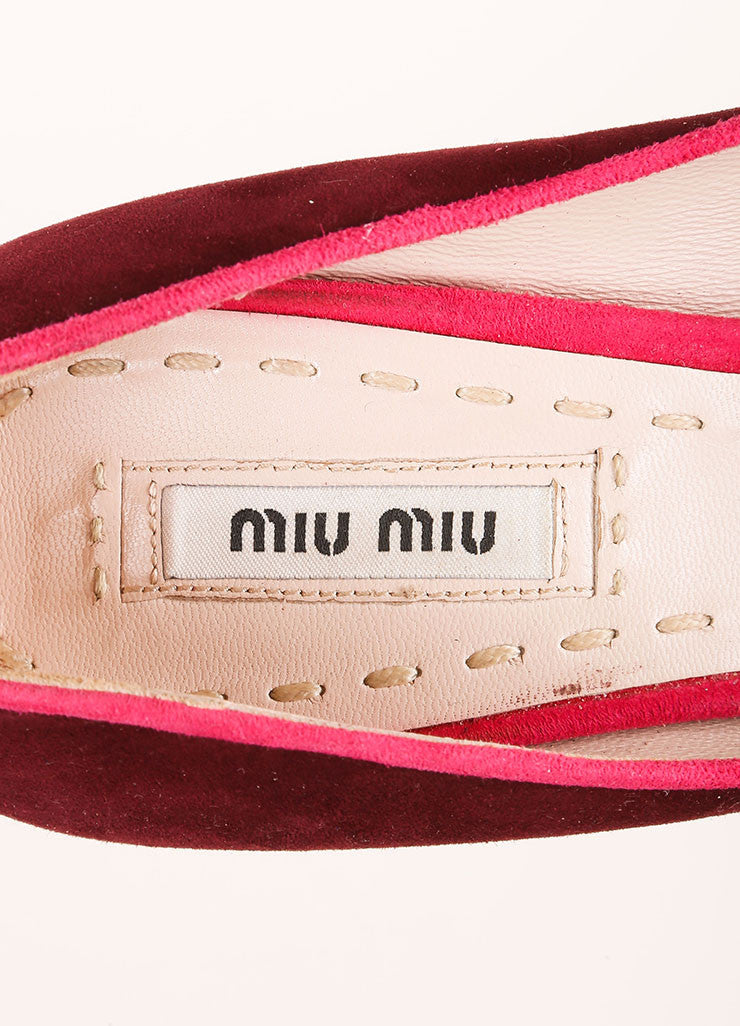 Miu Miu Pink and Purple Tassel Detail Peep Toe Platform Pumps Brand