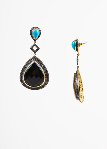 Sterling Silver 14k Gold Black Onyx Turquoise Diamond Drop Earrings Sideview
