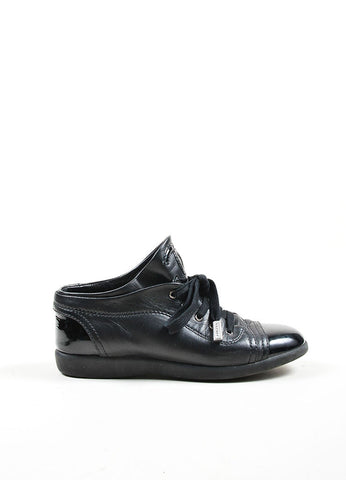 Black Chanel Leather Patent Cap Toe 'CC' Sneakers Sideview