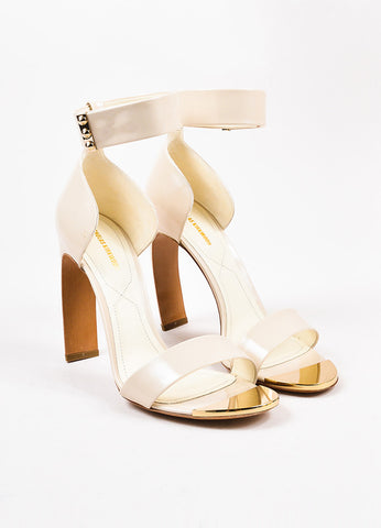 "Nicholas Kirkwood ""Nude"" Leather Contoured Heel ""Maeva"" Sandals Frontview"