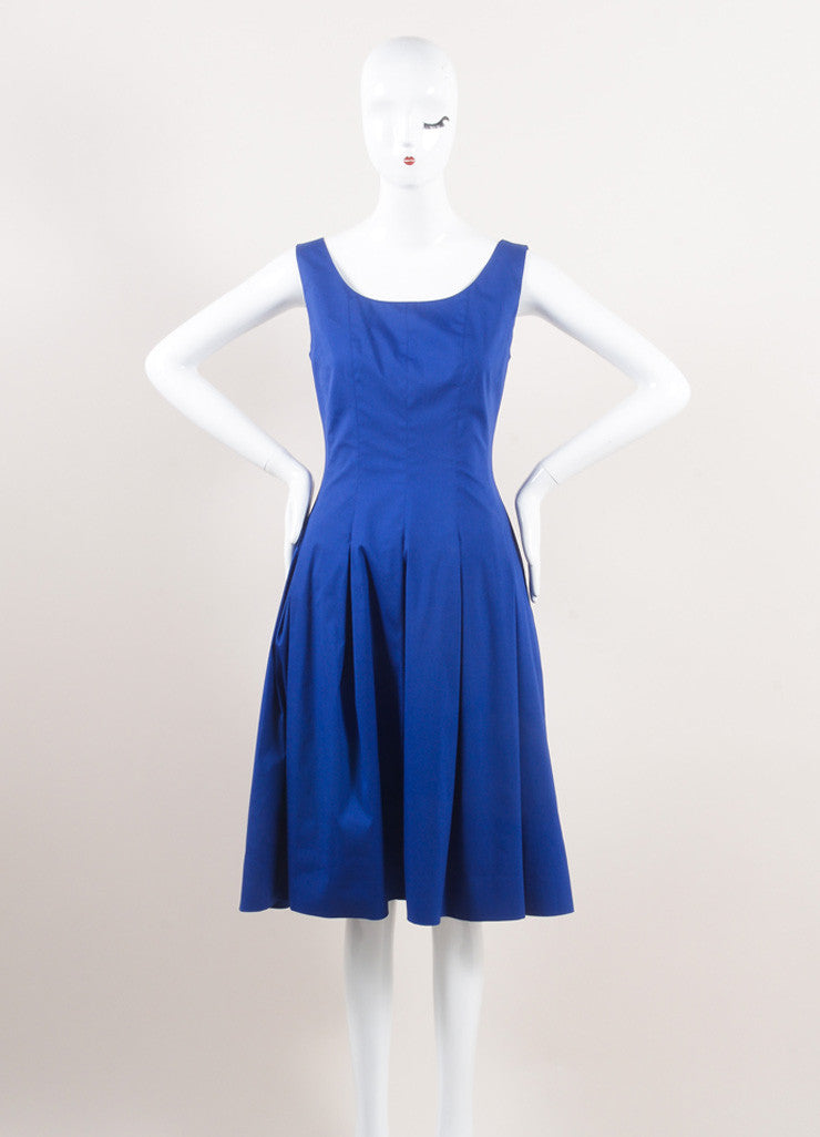 Oscar de la Renta New With Tags Blue Cotton Sleeveless Pleated A-Line Dress Frontview