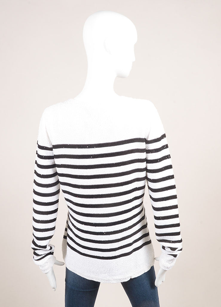 Oscar de la Renta New With Tags White and Navy Striped Sequin Sweater Backview