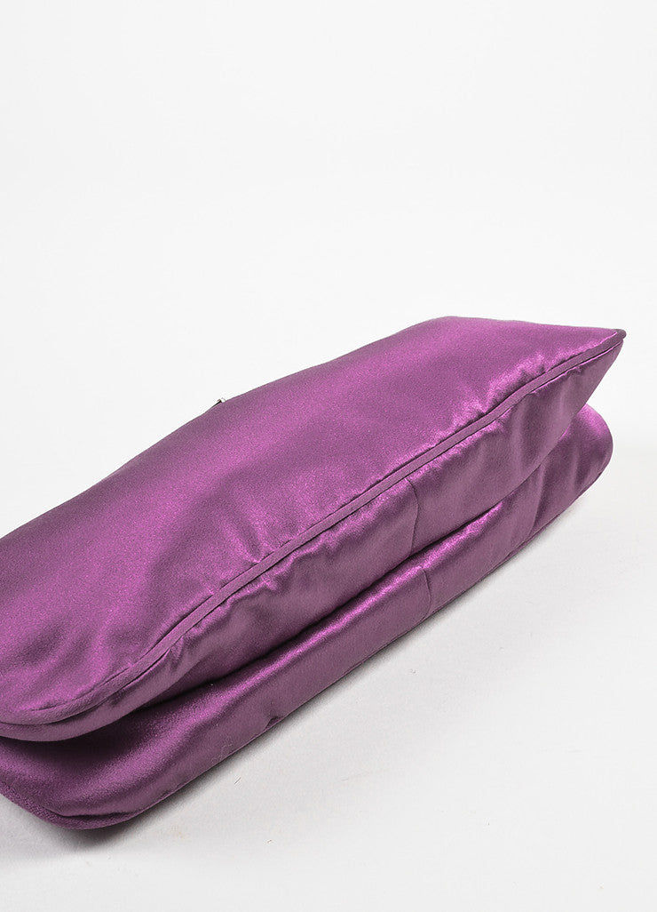 Prada Purple Satin Zipper Clutch Bag Bottom View