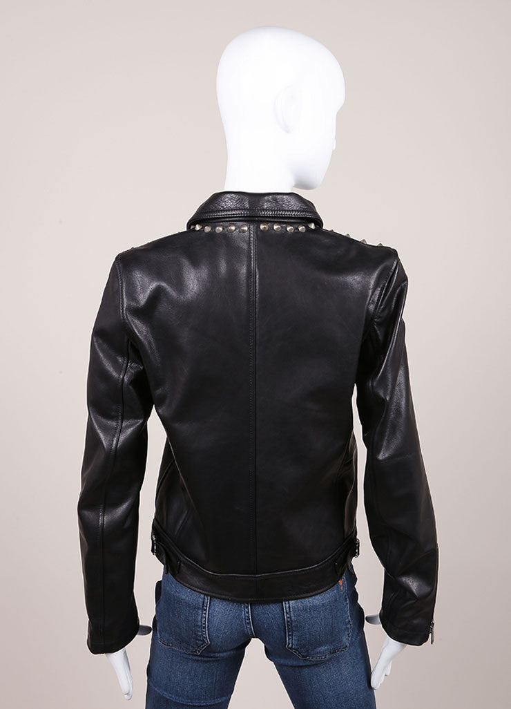 R13 New With Tags Black Leather Studded Zip Moto Jacket Backview