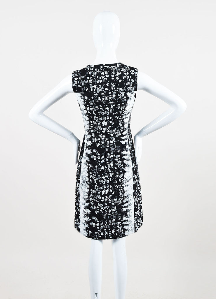 Black and White Reed Krakoff Silk Blend Reptile Print Sleeveless Sheath Dress Backview