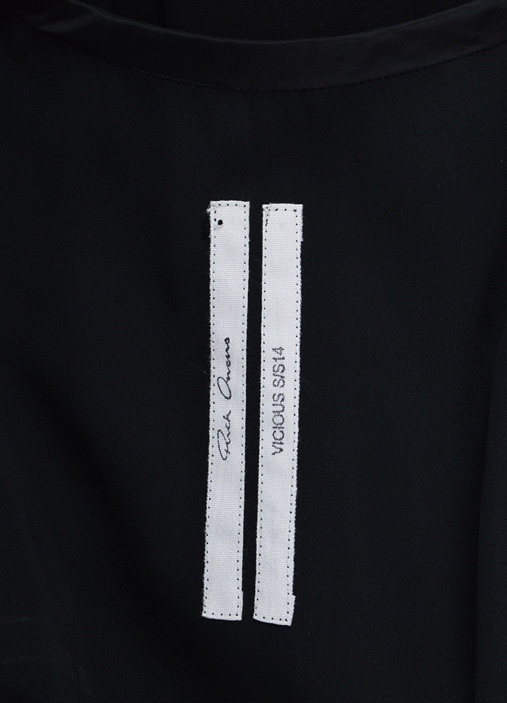 "í_í_Œ¢í_?çí_í_Rick Owens Black Chiffon Satin Trim Zipper Detail ""Vicious"" Sleeveless Dress Brand"