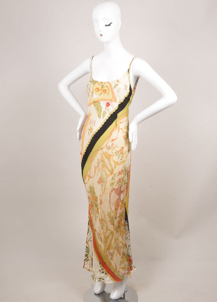 Salvatore Ferragamo Cream, Black, and Green Silk Butterfly Print Maxi Dress Sideview
