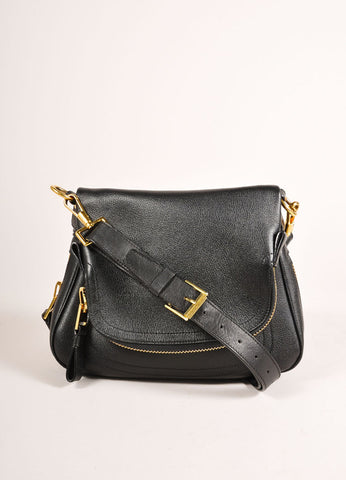 "Tom Ford Black and Gold Toned Chunky Zip Flap Leather ""Jennifer"" Cross Body Bag Frontview"