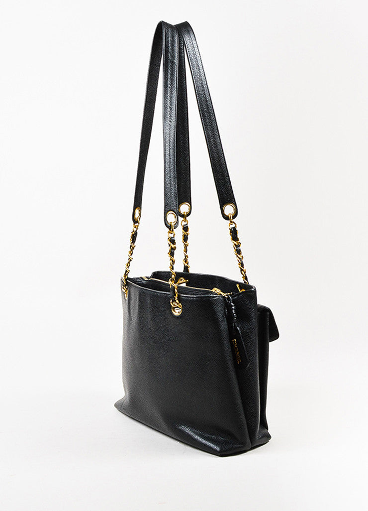 Chanel Black and Gold Toned Caviar Leather 'CC' Twist Lock Shoulder Bag Sideview